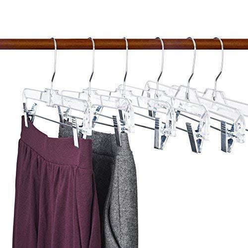 Titan Mall 14 inch Skirt Hangers Pants Hangers with Clips Clear Plastic Skirt Hanger Non Slip Clothes Hangers Clear Hangers Plastic Trouser Hangers 12 Pcs