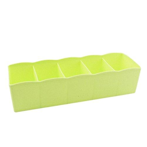 Transer Plastic Organizer Storage Box Tie Bra Socks Drawer Cosmetic Divider Tidy 5 Cells Green