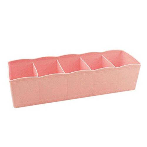 Voberry 5 Cells Plastic Organizer Storage Box Tie Bra Socks Drawer Cosmetic Divider Tidy Pink