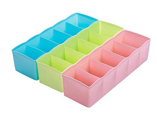 WeiMay Plastic Drawer Organizers Underwear Socks Storage Baby Clothes Crafts Cosmetic Box - 3 Set
