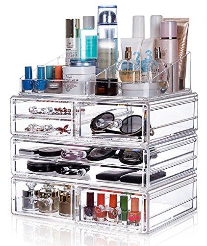 Sooyee Acrylic 3 Piece Makeup Cosmetic Organizer Storage Drawers 4 layer large 7 Drawers makeup organizer