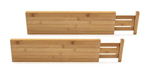 Lipper International 8897 Bamboo Wood Custom Fit Adjustable Deep Kitchen Drawer Dividers Set of 2
