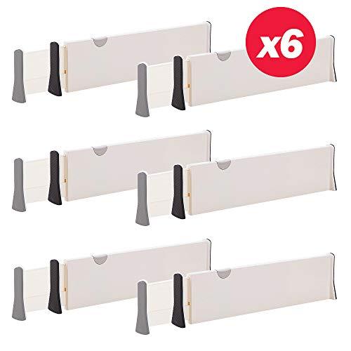Set of 6 Adjustable Drawer Dividers Organizer Separators PlasticDresser Organizer for Bedroom Bathroom Closet Baby Drawer OfficeDesk Kitchen Storage
