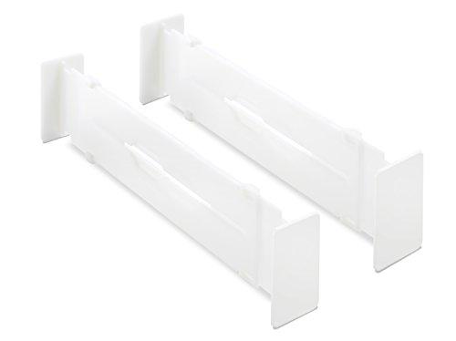 Whitmor Adjustable Organizers Drawer Dividers Set of 2 White