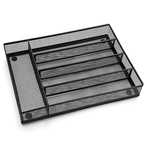 LIANYU Silverware Utensil Drawer Organizer 5 Compartments Steel Mesh Cutlery Flatware Tray with Foam Feet 9 14W x 12 12L x 2H Black