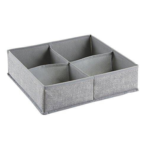 InterDesign Aldo Fabric Dresser drawer Storage Organizer for Underwear Socks Bras Tights Leggings - 4 Compartments Gray