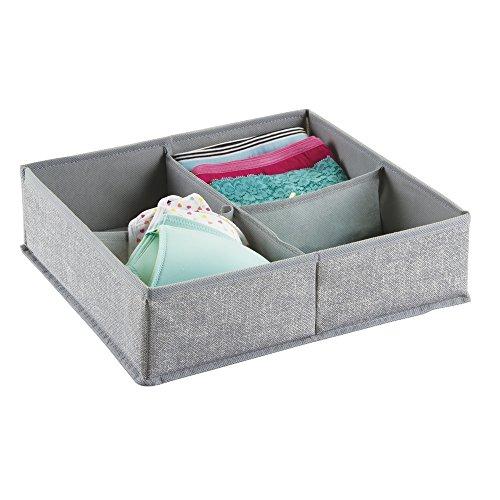 mDesign Fabric Dresser Drawer Storage Organizer for Underwear Socks Bras Tights Leggings - 4 Compartments Gray