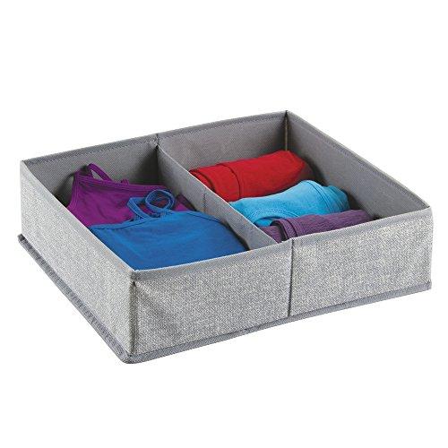 mDesign Fabric Dresser Drawer Storage Organizer for Underwear Socks Bras Tights Leggings - Large 2 Compartments Gray