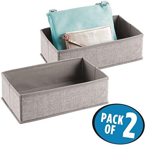 mDesign Fabric Dresser Drawer and Closet Storage Organizer for Underwear Socks Bras Clutch Purses - Pack of 2 Linen