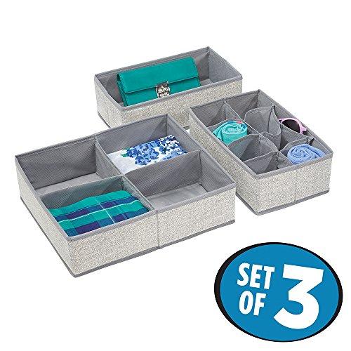 mDesign Fabric Dresser Drawer and Closet Storage Organizer for Underwear Socks Bras Tights Leggings - Set of 3 Gray