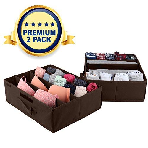 Underbed Storage Drawer Organizer - 2 Pack - Under Bed Storage Container Underbed Box Closet Dresser Organizer Bra Shoe Clothes Underwear Socks - Removable Dividers with Velcro Strips Brown