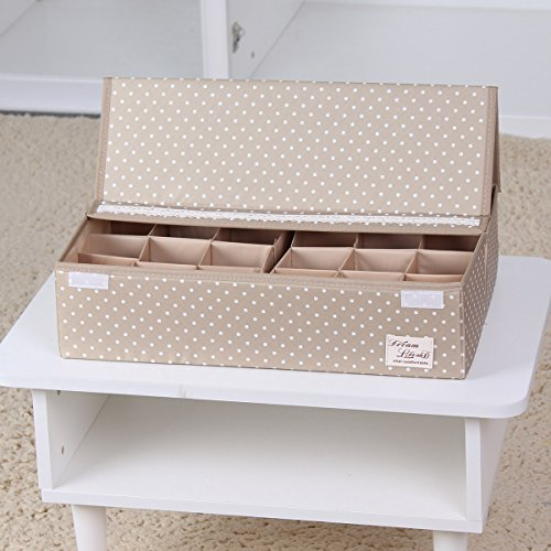 Sivin Dot Beige Foldable Storage Box Bra Underwear Closet Organizer Drawer Divider 24-CellsSpace adjusted freely 463112cm