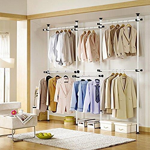 Asunflower Adjustable Clothing Racks 4-Tier Closet Organizer System Steel Pipe Garment Rack Hanger Heavy-Duty Ivory US Shipping