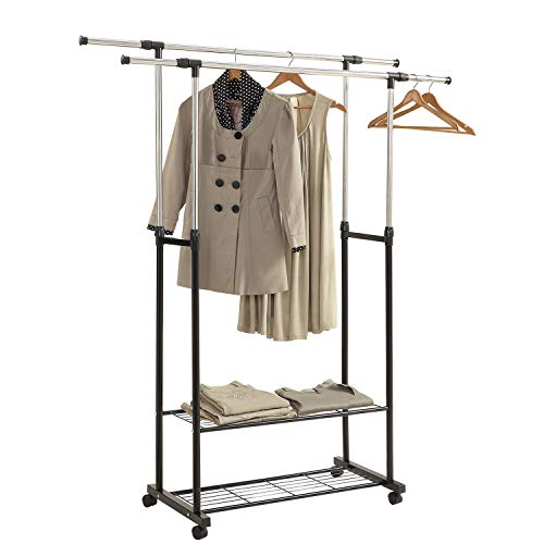HOME BI Adjustable Garment Rack with 2 Tier Metal Shelf for Shoes Boxes Rolling Clothes Organizer High CapacityStainless SteelHeavy Duty up to 110 poundsBlack