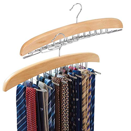 EZOWare 2-Pack Tie Belt Hangers Adjustable 24 Clip Racks Holder Hook Hanger for Closet Organizer Storage - Beige