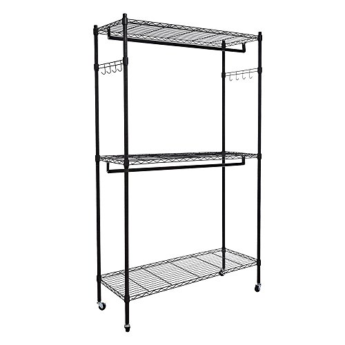 Adumly 2Tier Rod Closet Organizer Garment Rack Clothes Storage Hanger Shelf Hooks Black