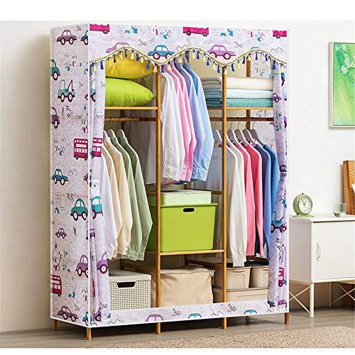 Shirleyle-Hocu Portable Closet Organizer Free-Standing Wooden Closet Garment Rack Heavy Duty Clothes Wardrobe Clothes Rack Closet Storage Organizer with Hanger Bar - 150x43x164cm Easy to Assemble