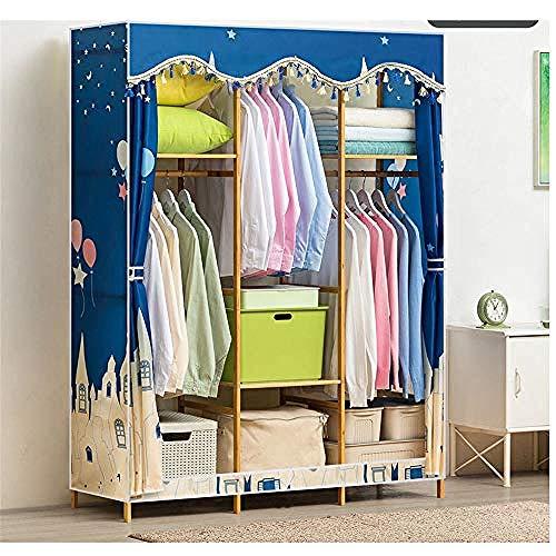YYZZ DIY Clothes Closet Free-Standing Wooden Closet Garment Rack Heavy Duty Clothes Wardrobe Clothes Rack Closet Storage Organizer with Hanger Bar