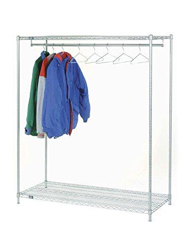 18 Deep x 48 Wide x 74 High 2 Tier Stationary Chrome Garment Rack