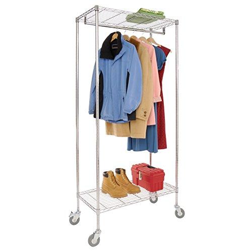 Chrome Rolling Garment Rack With Shelves