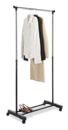 Whitmor Adjustable Garment Rack Black Chrome with Wheels