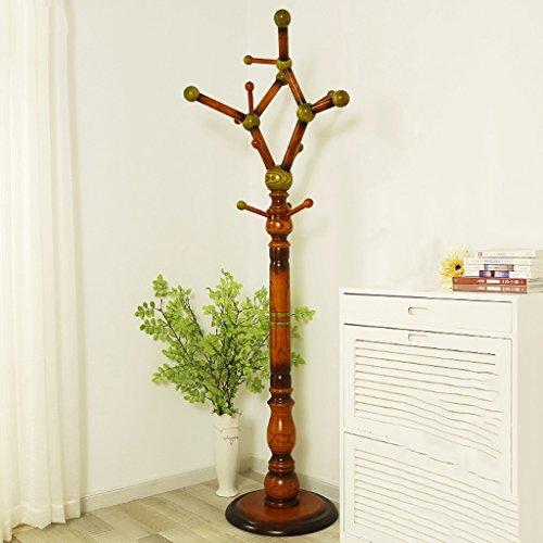 AIDELAI Coat Rack Clothes Rack Shelf Solid Wood Bedroom Clothes Rack Simple Modern Living Room Rack Rack Color  Brown
