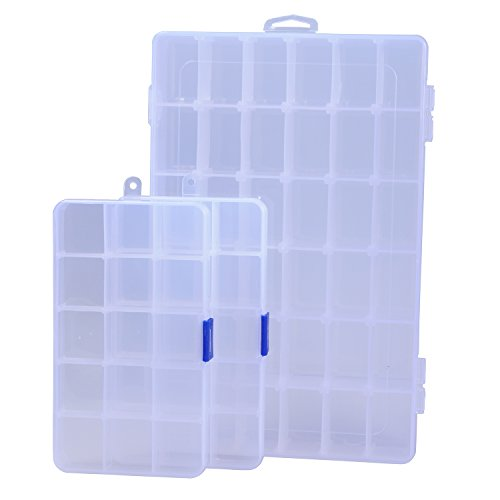 Ecrocy 3 Pack of Clear Plastic Jewelry Box Organizer Storage Container with Adjustable Dividers1pc container with 36 Grids 2pcs container with 15 Grids