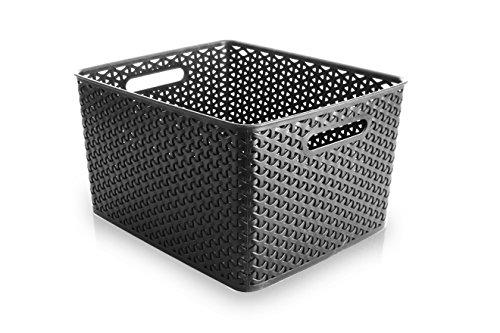 BINO T-Weave Woven Plastic Storage Basket Large Grey