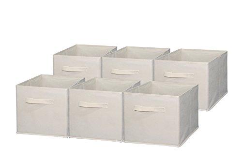 Sodynee Foldable Cloth Storage Cube Basket Bins Organizer Containers Drawers 6 Pack Beige Beige