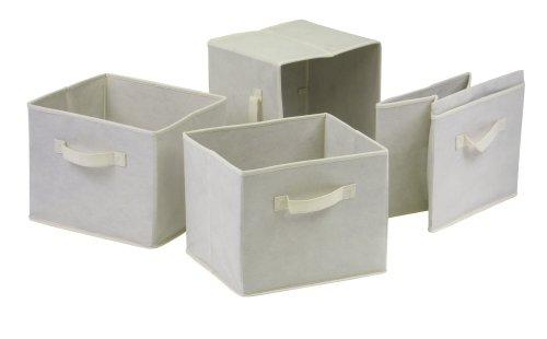 Winsome Capri Fabric Storage Baskets Beige Set of 4