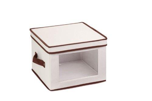 Honey-Can-Do SFT-02062 Natural Canvas Soft Storage Box Small Window Box 10x10