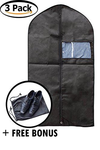 DZK Goods Garment Bag for Clothes - Set of 3 Black Comfortable Travel Suit Bag Perfect for Suits Dress Storage - Waterproof Dust Resistant Zipped Suit Bag for Men - Free Bonus Shoe Bag
