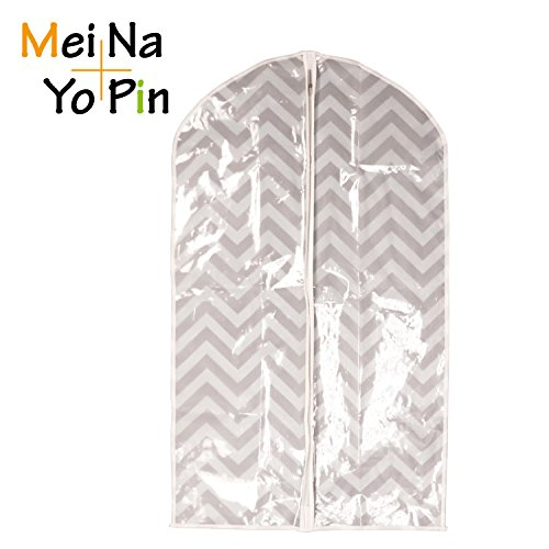 Meinayopin Set of 3 Hanging Suit bags 420D ECO Ployesterclear PE for Luggage Dresses Linens Storage or Travel - Suit Bag with Big Clear Window
