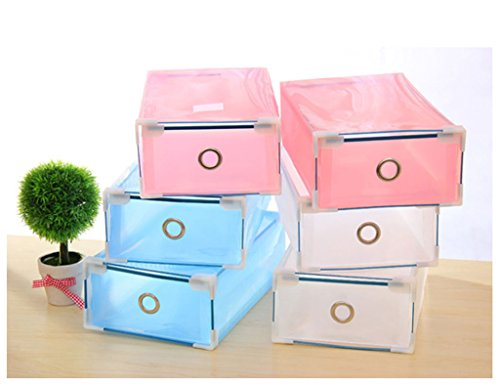 FUT PP Foldable Plastic Shoe Boxes Organiser Drawer Stackable Storage Box Translucent Multi Colors for Women Men