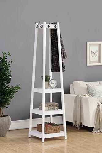 Roundhill Furniture Vassen Coat Rack with 3-Tier Storage Shelves white Finish