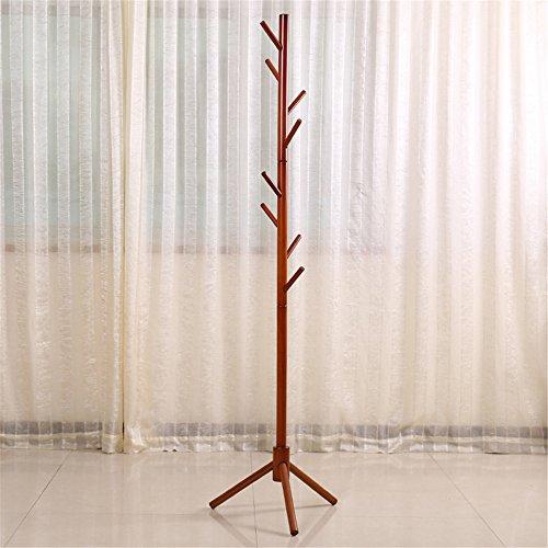 Wood Coat Rack Hall TreeTeak-Colors Entryway Standing Hat Jacket Coat Hanger Rackfor Bedroom Living Room Teak