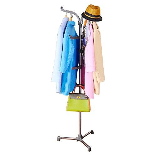 Baoyouni Standing Coat Rack Hat Hanger Holder Hooks for Jacket Umbrella Tree Stand with Base Metal