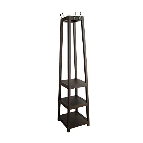 Espresso Entryway Coat Rack Tower Shelf Stand  Clothes Garment Rack  Shoe Rack