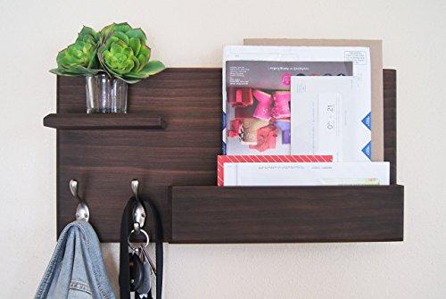 Midnight Woodworks Original Entryway Organizer Mail Holder with Floating Shelf and Coat Hooks Magazine Rack Entryway Coat Rack