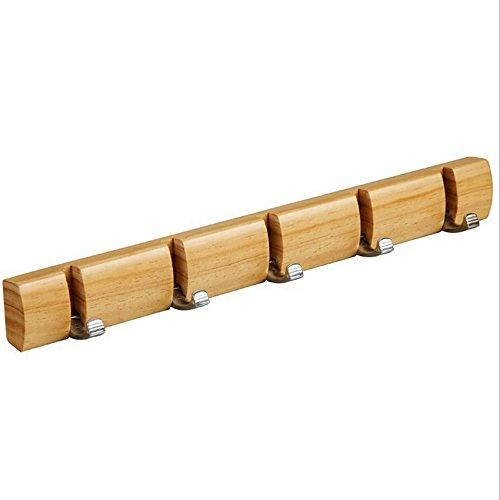 Solid Wood Hanging Coat Rack - Ehonestbuy Hat Hook Rail Hook with Foldable 5 Alloy Hooks 18 Inch Natural