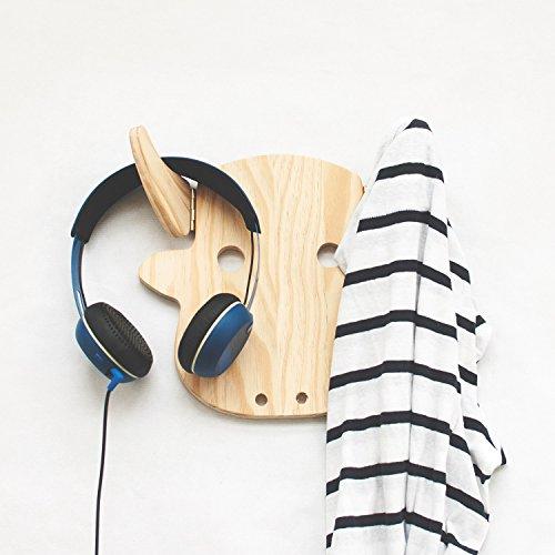 Wood wall hanging coat rack - Handmade cloth hanger - Modern wall mounted hook - Wall organizer