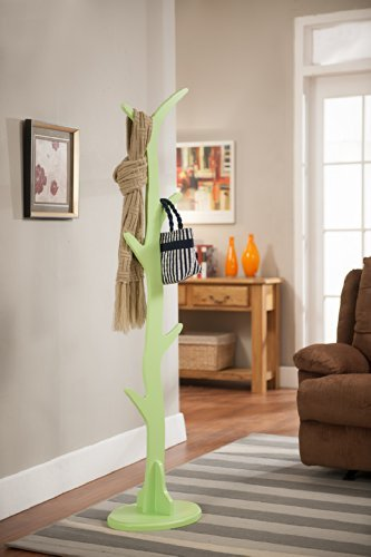 Kings Brand Contemporary Tree Style Wood Coat and Hat Rack Stand Mint Green
