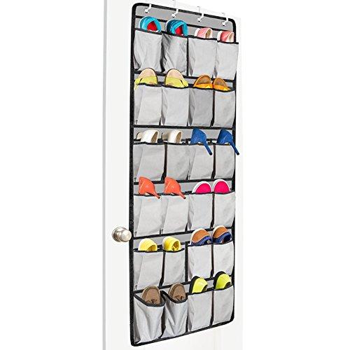 Gisssy Studio 24 Pockets Over The Door Shoe OrganizerHanging Shoe Holder For Maximizing Shoe StorageWith 4 Reversible Metal Over The Door Hooks