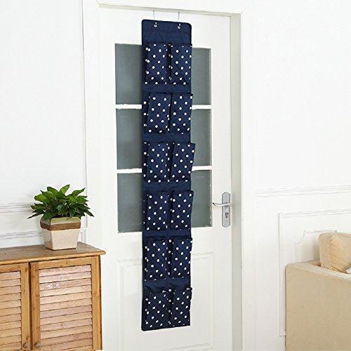Hangnuo 12-Pocket Hanging Closet Organizer Over the Door Shoes Organizer Holder Storage Bag Navy Dot