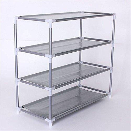 KINGSO 4 Tiers Space Saving Metal Stand Fabric Shelf Holder Shoes Rack Storage Organizer
