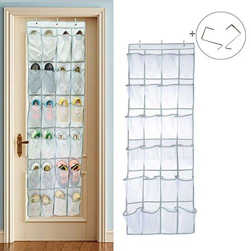 Over the Door Shoe Organizer Hanging Shoe Holder Storage Bag with 24 Large Mesh Pockets White