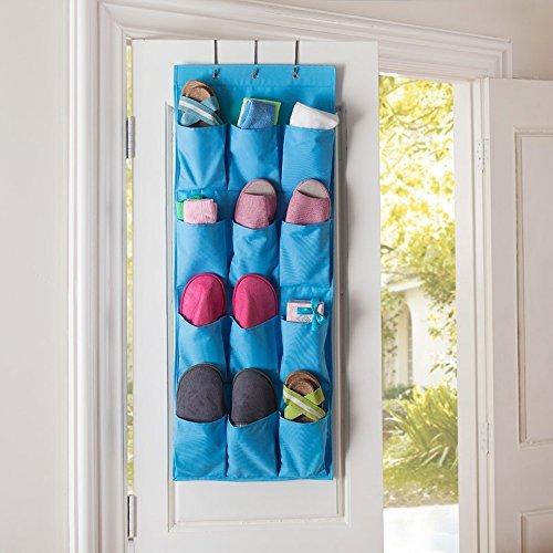 12 Pocket Hanging Door HolderTune Up Storage Organizer Closet Shoe Hanger Organiser Bag Blue