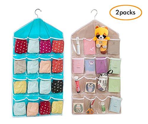 16 Transparent Pockets Hanging Closet Organizers Durable Door Wall Sock Baby Shoe Organiser Storage Tidy Rack Space Saver2PCS