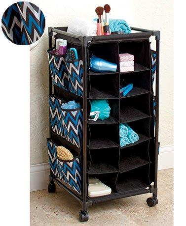 42 Pair Shoe Cubby Stylish Rolling Storage Unit Cart blue