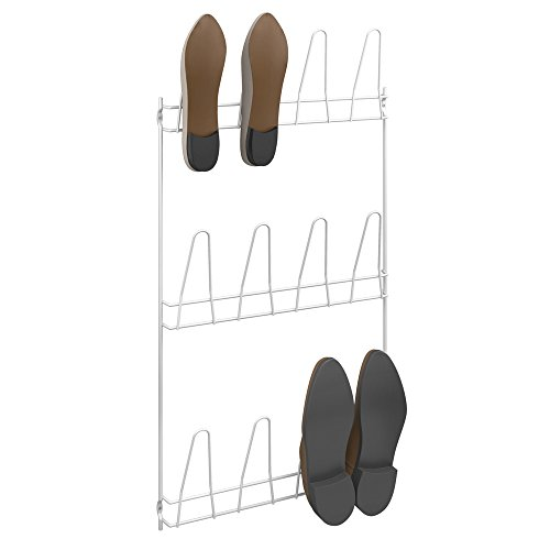 Metaltex Penny - 36611214080 - Wall-Mounted Shoe Rack - 6 Pairs - Metal - White - 40x6x775cm by Metaltex